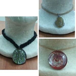 Bundle 3 Pendant Chokers(Free Crochet necklaces)
